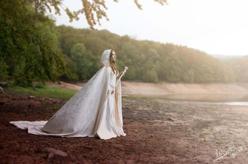 Bridal damasc cloak with hood long hooded cape Medieval image 0