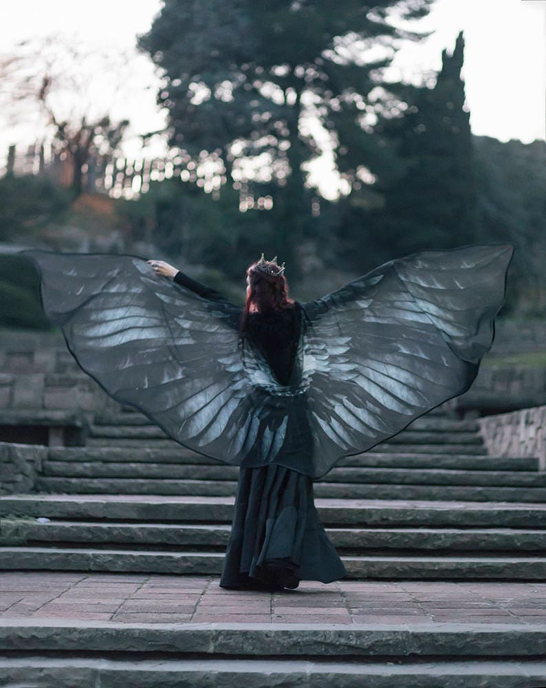 Raven Wings Costume Crow Black Feathers Maleficent Cosplay Dark Angel Wings Festival Clothing