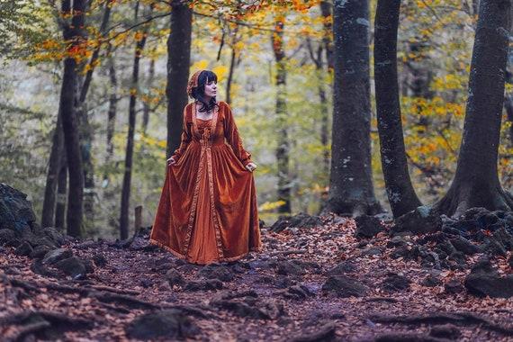 più popolare vendite speciali grande sconto Medieval Dress Orange Autumn Renaissance Celtic gown elven velvet dress  velveteen cotton samhain wicca halloween strega costume witch