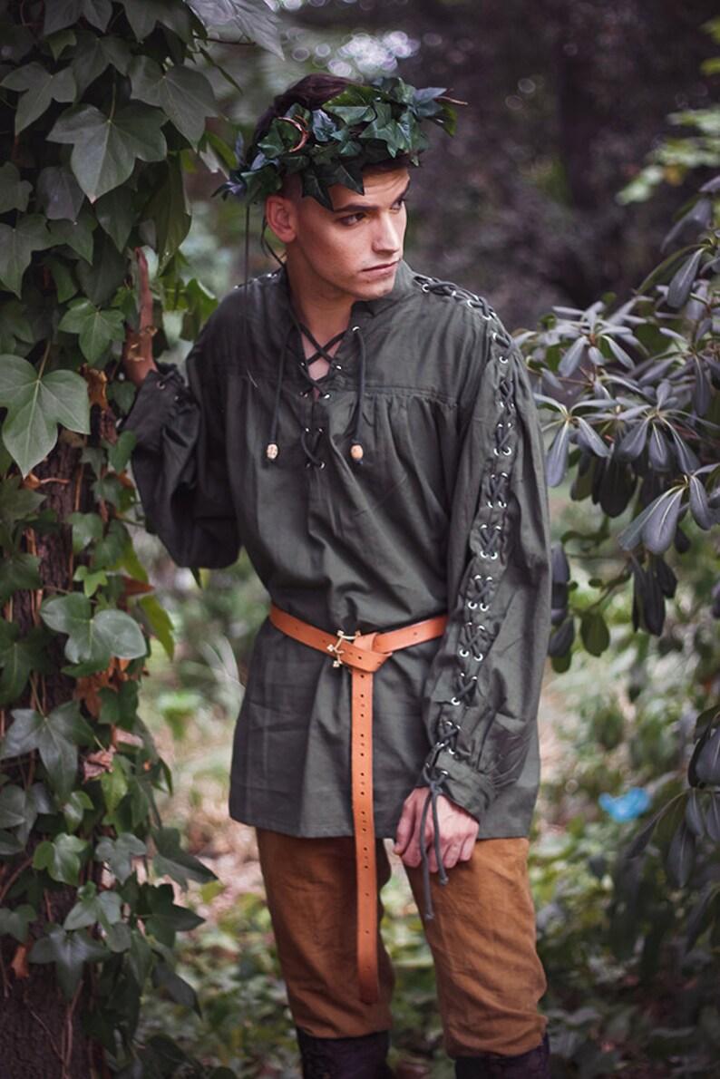 Men shirt Renaissance peasant Cotton Shirt  Steampunk Pirate image 0