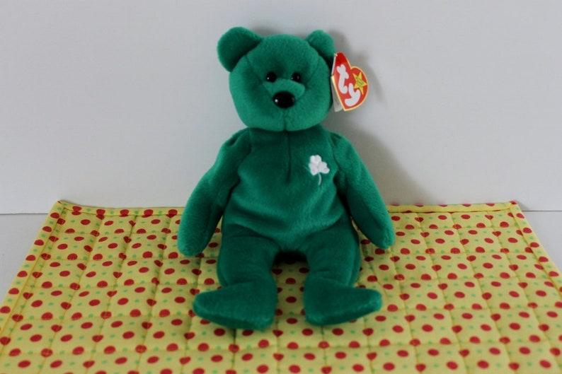 ca539351522 Ty Beanie Baby Erin Bear St. Patrick s Day emerald green