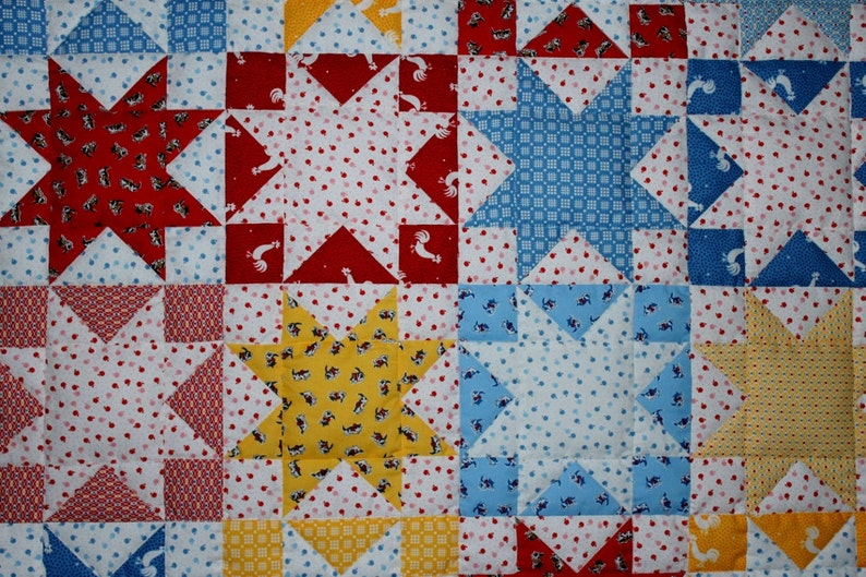 Baby quilt red white blue yellow stars pieced reversible 39 x 31 FREE SHIPPING