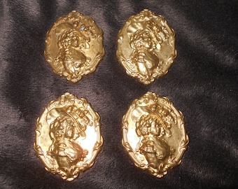 4 Solid Brass Gibson Style Lady Embellishment Stampings Findings