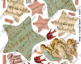 Vintage Angels Peace On Earth  Christmas Tree  tag Ornament  Digital Collage sheet Printable