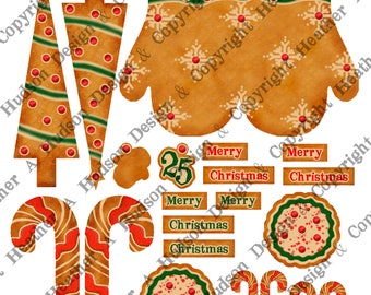 Vintage Retro Christmas Gingerbread Cookie Mitten Tree Candy Cane Mitten Ornament Tiny Mitten  DIY Printable Digital Collage Sheet Victorian
