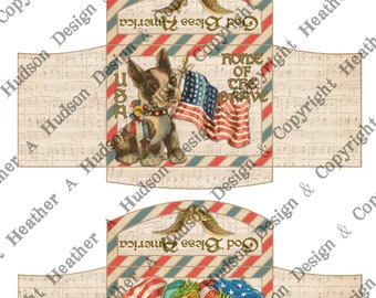 Vintage Patriotic  Americana 4th Of July Envelopes Tiny ATC  printable Stars Stripes Flag America download Digital Collage 3 sheets sheet