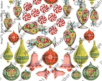 Vintage Christmas Candy Jar Bells Peppermint Mercury Glass Bulbs Ornaments Embellishments  Digital Collage sheet Printable Victorian