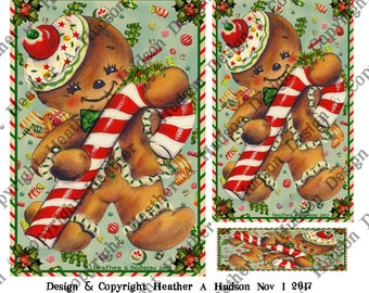 Vintage Retro Gingerbread men man cookies candy cane aqua focal Printable Digital Collage Sheet ATC Card Fronts Jewelry clip art Christmas
