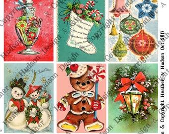 Vintage Retro Christmas Santa un altered  4 Sheets 9 images ATC  Large Focals Tiny DIY Printable Digital Collage Sheet Victorian