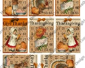 Items similar to Vintage Give Thanks Thanksgiving Girl Boy Pumpkins