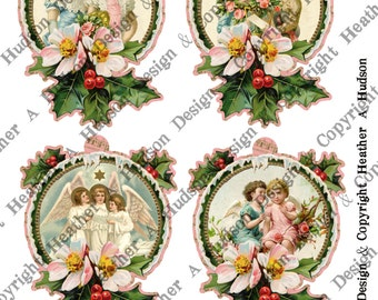 Pink Victorian Vintage Boy Holly Girl Christmas Angel tags Ornament  Digital Collage sheet Printable