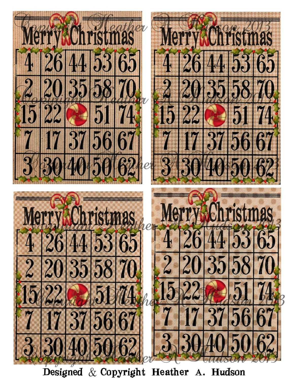 Dollar Download 4 Vintage Christmas NOT the GAME Bingo Cards   Etsy