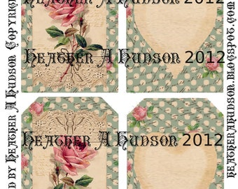 Dollar download Shabby Vintage Soft Green Roses Digital Collage tags