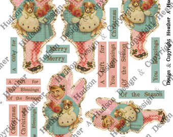 Pink Victorian Vintage Girl  Dog Christmas Angel tags Ornament  Digital Collage sheet Printable