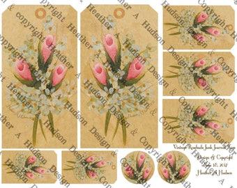 Dollar Download Vintage Chic HP Pink Rose Buds Junk Journal Ephemera Tags Printable 2 Fauxdori Traveler's notebook Digital Collage