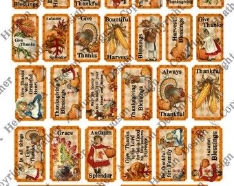 Vintage Give Thanks Thanksgiving Girl Boy Pumpkins Turkey Tickets Cards  Pie  Digital Collage sheet Printable