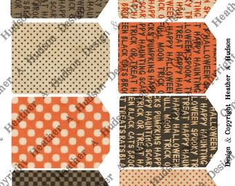 16 Backgrounds Tiny Tags  Halloween DIY Printable Digital Collage Sheet Victorian Papers Orange Black Chocolate Cream