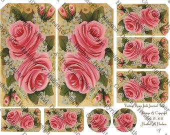 Dollar Download Vintage Chic HP Pink Roses Junk Journal Ephemera Tags  Printable 2 sheets Fauxdori Traveler's notebook Digital Collage
