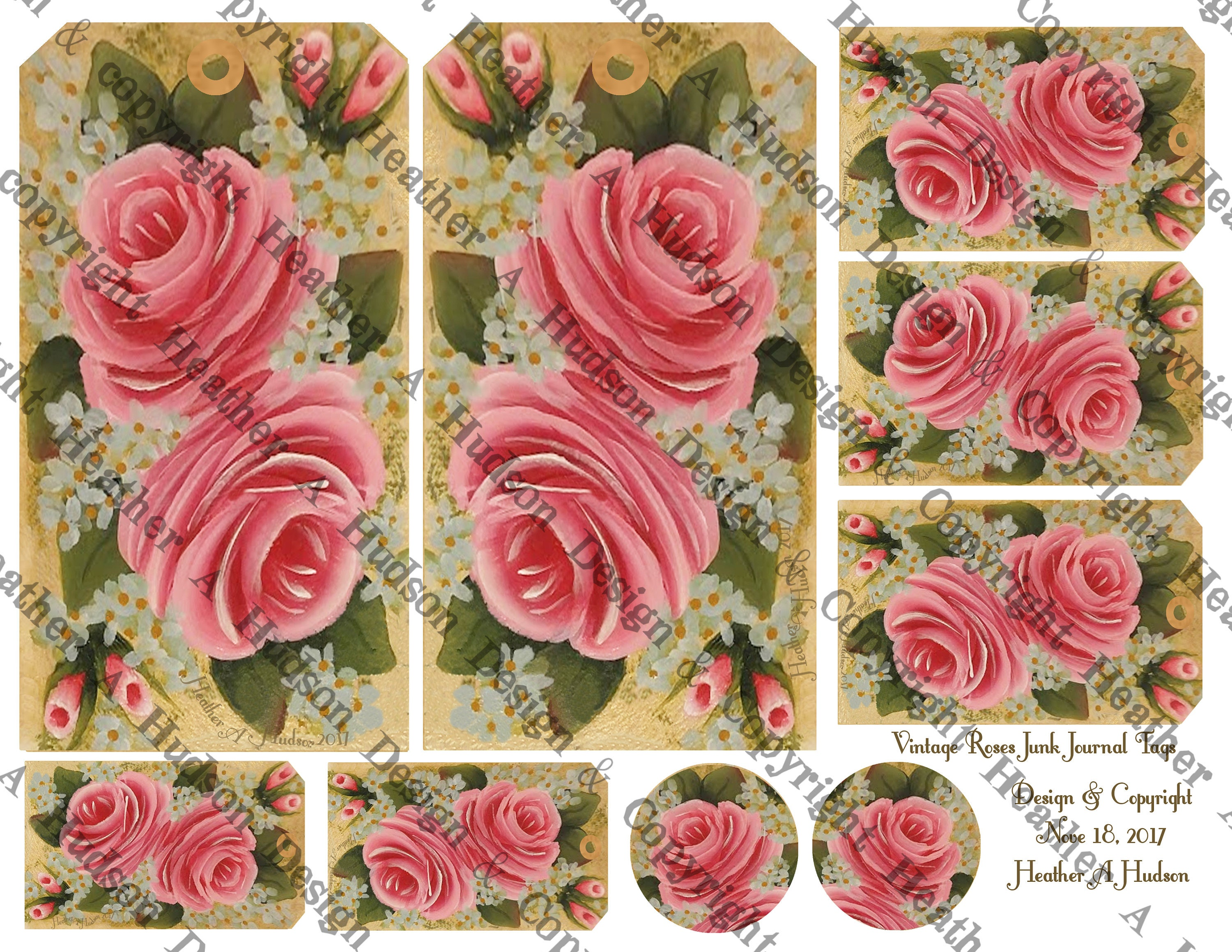 Dollar Download Vintage Chic Hp Pink Roses Junk Journal Etsy