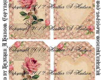 Dollar download Pink Shabby Vintage  Roses Digital Collage tags