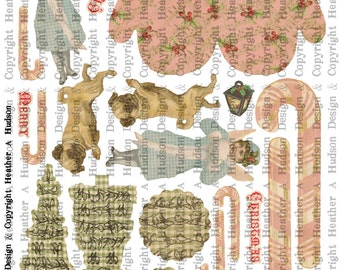 Pink Victorian Vintage Mitten Candy Cane Christmas Tree Pug Angel tags Ornament  Digital Collage sheet Printable