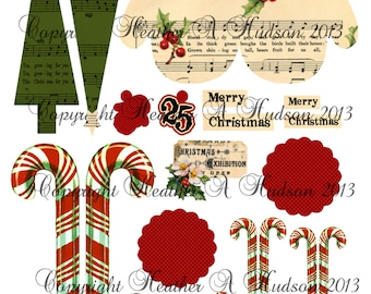 Vintage Mitten Candy Cane  Christmas Tree  tags Ornament  Digital Collage sheet Printable