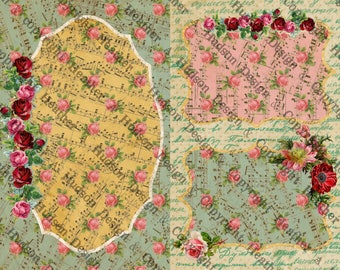 8 Vintage Shabby Chic Aqua Cream Pink Roses sheets Tags  Midori Fauxdori Junk Journal Journaling Calendar Digital Printable  Paper Download