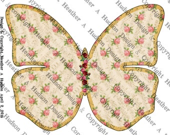 Butterfly Junk Smash Journal 3 Journaling pages kit lined graph Digital Printable Vintage Shabby Chic Honey Roses  Paper Download collage