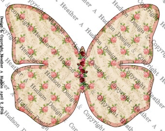 Butterfly Junk Journal 3 Journaling pages kit lined graph Digital Printable Vintage Shabby Chic Pink Roses Music Paper Download collage