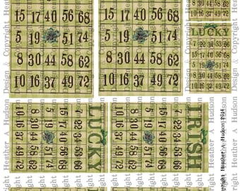 Victorian Vintage Lucky Irish Chic Green St. Patrick's Day Bingo Card  Digital Collage sheet Printable