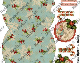 Robin's Egg Blue Snowflake Winter Pillow Box Victorian Vintage  Candy Cane Angel tags Ornament  Digital Collage sheet Printable
