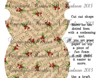 Vintage   Natural Traditional Christmas Countdown Advent Calendar Pillow Box  tags Ornament  Digital Collage sheet Printable