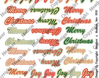 14 pages Vintage Retro Gingerbread cookies candy cane aqua cream pink red Sentiments Printable Digital Collage Sheet Clip Art Christmas