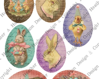 49 Victorian Vintage Large Easter Eggs Shabby Chic Bunny Chics Digital Collage sheet Printable