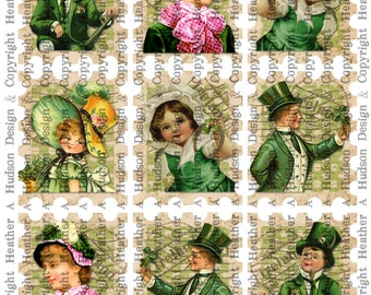 Victorian Light Vintage Green St. Patrick's Day Stamps Tags  Digital Collage sheet Printable