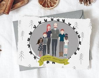 PORTRAIT CHRISTMAS CARD - Modern Christmas - Custom portrait holiday card digital download, Watercolor digital portrait, Custom holiday card