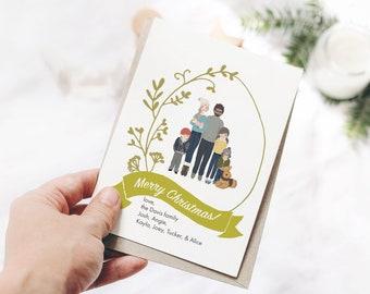 PORTRAIT HOLIDAY CARD - Christmas Floral - Custom portrait holiday card digital download, Watercolor digital portrait, Custom holiday card