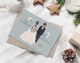 MARRIED CHRISTMAS CARD - Blue Floral - Custom portrait holiday card digital download, Wedding announcement portrait, Custom holiday card