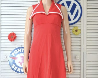 Vintage 70s Women's Juniors Formal Maxi Dress Nautical Red Halter Polyester Small XS Teens Sailor Costume Full Length Patriotic Prom