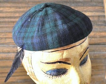 Vintage 40s-50s Womens Beret Cap Calot Juliet Hat with Feather Blue-green Plaid Beanie Deb-Age Theater Costume High-Fashion small to medium