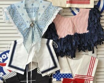Vintage Destash Bundle Womens Bibs Collars Set of 6 Assorted Patterns & Styles Nautical Teacher Patriotic Preppy Country 80s Upcycle Craft