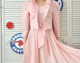 Retro 80s does 50s Vintage Taffeta-Sequin Dress Womens Full Skirt & Matching Jacket Formal Bridal Wedding Pink Small XS Teen Junior Glenrob