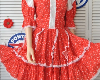 Vintage Womens Dress Rockabilly Square Dance Swing Full Skirt Red & White Hearts Valentine Costume  Handmade OOAK 60s 70s Retro 50s Small
