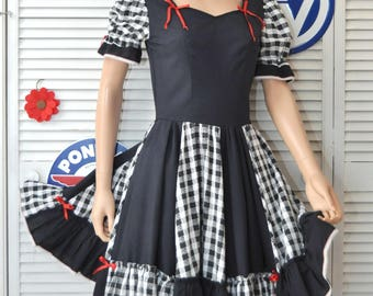 Vintage Womens Dress Rockabilly Square Dance Swing Full Skirt Black & White Checkered Costume Handmade OOAK 60s 70s Retro 40s 50s Small