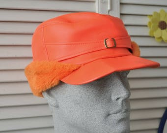 Vintage Mens Womens Winter Hat Lumberjack Cap 60s Bright Saftey Orange Cold Weather Headwear Adult Costume Heavy Duty USA Outerwear Mod