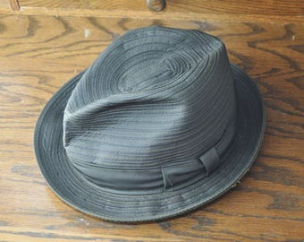 Vintage Bond Mens Fedora Hat 50s 60s Dark Brown w/Ribbon Band/Reemay Du Pont Crushable Water Repellent Costume Detective size
