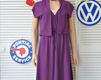Vintage 70s 80s Womens Semi -Sheer Dress with Matching Jacket Spaghetti Strap Plum Purple Melissa Petites arnel-nylon Disco Juniors Small