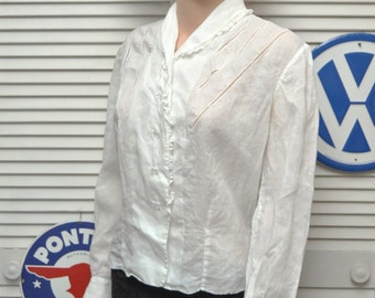 Vintage Poet Blouse 40s-50s Retro Victorian Renaissance top shirt Long sleeve clear buttons Lace Trim Womens Small-Med Theater Costume Gypsy