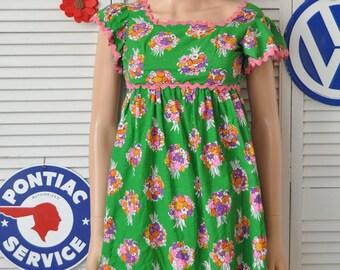 Vintage 70s Smock Top-Shirt-Blouse/Teens-Juniors-XXS Women/OOAK Handmade Floral Print with Pink Ric Rac Trim/Flutter Sleeve Theater Costume