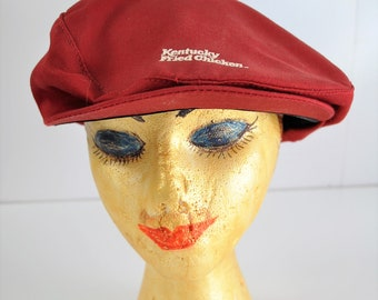 fc4e8b2dd162a Vintage Collectible Kentucky Fried Chicken Uniform Cap 70s 80s Golfers  Newsboy hat Maroon White Letters Mens Womens Adult Memorabilia Crest